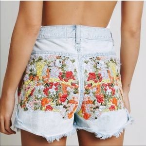 Free People Floral Elsa Embroidery Jean Shorts